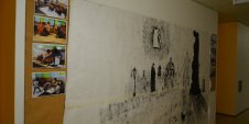 Wall with picture made by children up to 18 years during Summer Language Course